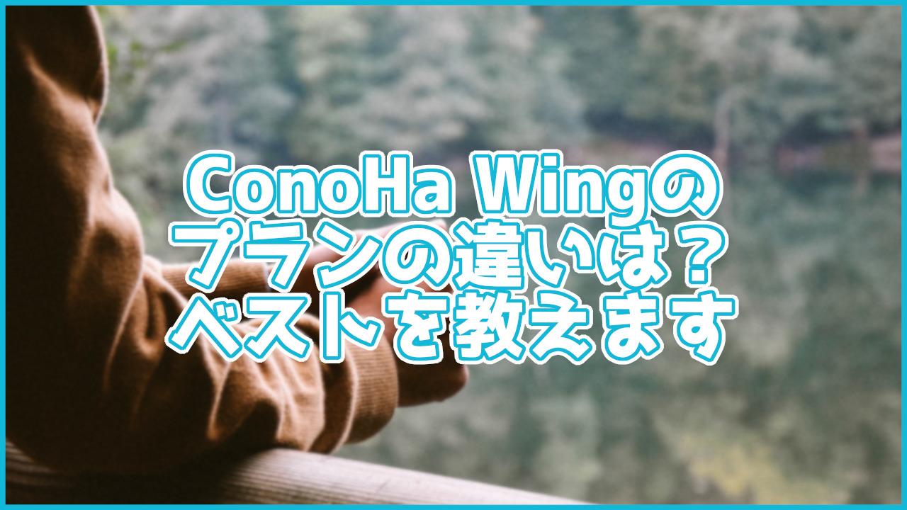 【初心者向け】ConoHa Wingのプランの違いは?ベストなプラン教えます
